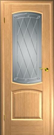 Дверь Венеция Дуб светлый (гравировка)