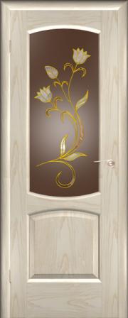 Дверь Венеция Ясень белый (золото) (витраж Палермо)