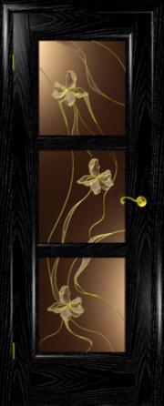 Дверь Надежда ясень черный (серебро) (витраж)